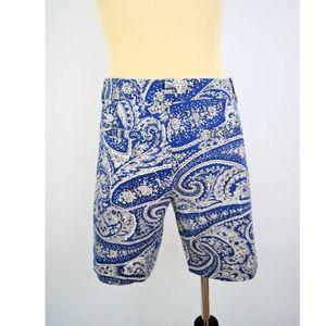 "J. Crew Shorts - J crew blue paisley 8.5""  Bermuda SHORTS"